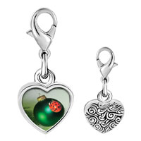 Link Charm Bracelet - 925  sterling silver ladybug ornament photo heart frame link charm Image.