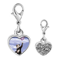 Link Charm Bracelet - 925  sterling silver cat with balloons photo heart frame link charm Image.