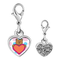 Link Charm Bracelet - 925  sterling silver valentine teddy bearphoto heart frame link charm Image.