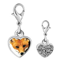 Link Charm Bracelet - 925  sterling silver red fox photo heart frame link charm Image.