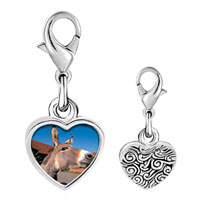 Link Charm Bracelet - 925  sterling silver brown donkey photo heart frame link charm Image.