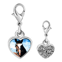 Link Charm Bracelet - 925  sterling silver equestrian horse face photo heart frame charm Image.