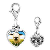 Link Charm Bracelet - 925  sterling silver sheep face photo heart frame link charm Image.