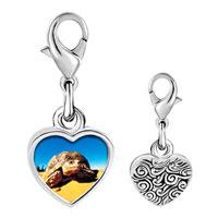 Link Charm Bracelet - 925  sterling silver desert turtle photo heart frame link charm Image.