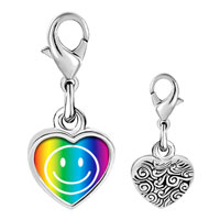 Link Charm Bracelet - 925  sterling silver rainbow happy face photo heart frame link charm Image.