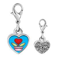 Link Charm Bracelet - 925  sterling silver heart plant photo heart frame link charm Image.