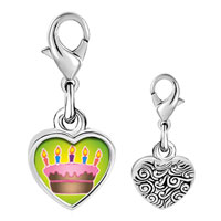 Link Charm Bracelet - 925  sterling silver cake with pink frosting photo heart frame link charm Image.
