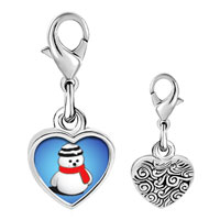 Link Charm Bracelet - 925  sterling silver snowman red scarf photo heart frame link charm Image.