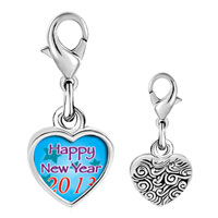 Link Charm Bracelet - 925  sterling silver happy new year 2013  blue photo heart frame link charm Image.