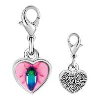 Link Charm Bracelet - 925  sterling silver florescent bug photo heart frame link charm Image.