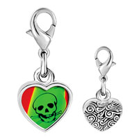 Link Charm Bracelet - 925  sterling silver skull and crossbones poison photo heart frame link charm Image.