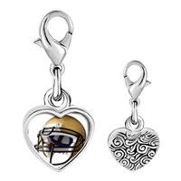 Link Charm Bracelet - 925  sterling silver football helmet brown photo heart frame link charm Image.