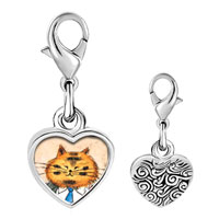 Link Charm Bracelet - 925  sterling silver business cat photo heart frame link charm Image.