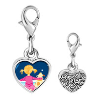 Link Charm Bracelet - 925  sterling silver wishing on a star photo heart frame link charm Image.