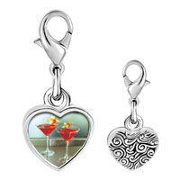 Link Charm Bracelet - 925  sterling silver tropical martini photo heart frame link charm Image.