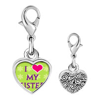 Link Charm Bracelet - 925  sterling silver i heart my sister photophoto heart frame link charm Image.