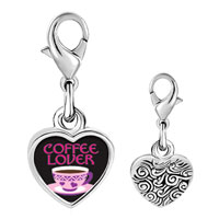 Link Charm Bracelet - 925  sterling silver coffee lover photo heart frame link charm Image.