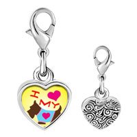 Link Charm Bracelet - 925  sterling silver i heart my dog photo heart frame link charm Image.