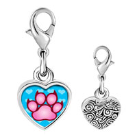 Link Charm Bracelet - 925  sterling silver pink paw print photo heart frame link charm Image.