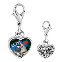 Link Charm Bracelet - 925  sterling silver love birds blue photo heart frame link charm Image.
