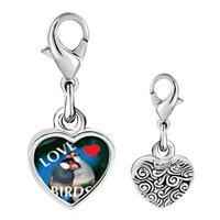Link Charm Bracelet - 925  sterling silver love birds blue photo heart frame link charm Image.