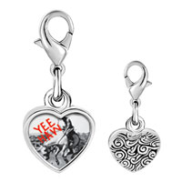 Link Charm Bracelet - 925  sterling silver yee haw cowboy photo heart frame link charm Image.
