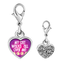 Link Charm Bracelet - 925  sterling silver cat walks over me photo heart frame link charm Image.