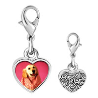 Link Charm Bracelet - 925  sterling silver retriever in pink photo heart frame link charm Image.