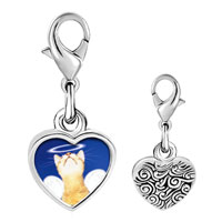 Link Charm Bracelet - 925  sterling silver angel cat photo heart frame link charm Image.