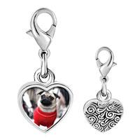 Link Charm Bracelet - 925  sterling silver dressed up pug photo heart frame link charm Image.