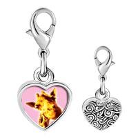 Link Charm Bracelet - 925  sterling silver giraffe smile photo heart frame link charm Image.