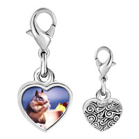 Link Charm Bracelet - 925  sterling silver tropical squirrel photo heart frame link charm Image.