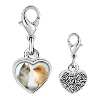 Link Charm Bracelet - 925  sterling silver chick and kitten photo heart frame link charm Image.