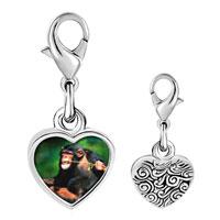 Link Charm Bracelet - 925  sterling silver funny monkey photo heart frame link charm Image.