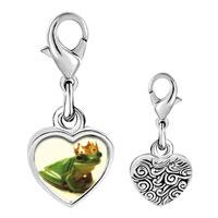 Link Charm Bracelet - 925  sterling silver frog prince photo heart frame link charm Image.