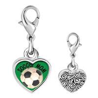 Link Charm Bracelet - 925  sterling silver soccer mom photo heart frame link charm Image.