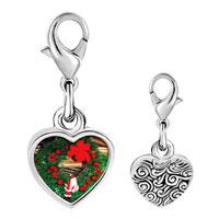 Link Charm Bracelet - 925  sterling silver santa wreath photo heart frame link charm Image.