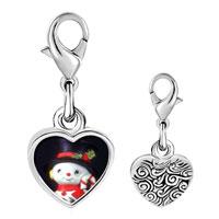 Link Charm Bracelet - 925  sterling silver snowman figurine photo heart frame link charm Image.