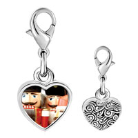 Link Charm Bracelet - 925  sterling silver christmas nutcrackers photo heart frame link charm Image.
