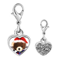 Link Charm Bracelet - 925  sterling silver teddy bear present photo heart frame link charm Image.