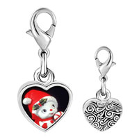 Link Charm Bracelet - 925  sterling silver snow woman figurine photo heart frame link charm Image.