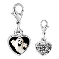 Link Charm Bracelet - 925  sterling silver halloween ghost photo heart frame link charm Image.