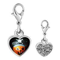 Link Charm Bracelet - 925  sterling silver jack o lantern halloween pumpkin pirate photo heart frame link charm Image.