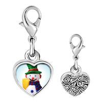 Link Charm Bracelet - 925  sterling silver plastic snowman photo heart frame link charm Image.