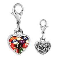 Link Charm Bracelet - 925  sterling silver pool ball set photo heart frame link charm Image.