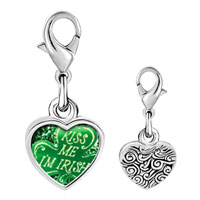 Link Charm Bracelet - 925  sterling silver kiss me i' m irish photo heart frame link charm Image.