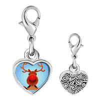 Link Charm Bracelet - 925  sterling silver christmas rudolph photo heart frame link charm Image.