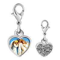 Link Charm Bracelet - 925  sterling silver three angels photo heart frame link charm Image.