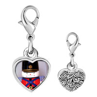 Link Charm Bracelet - 925  sterling silver soldier boy photo heart frame link charm Image.