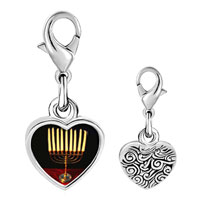Link Charm Bracelet - 925  sterling silver family menorah photo heart frame link charm Image.
